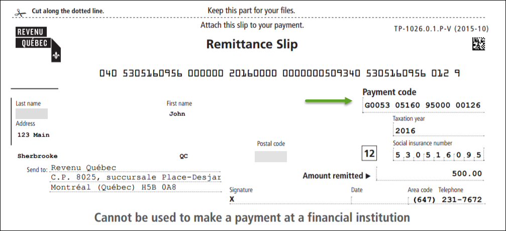what is a remittance slip h r block canada